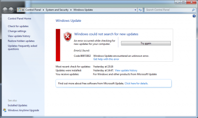 Ошибка windowsupdate 80072ee2 - О компьютерах для чайников
